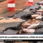 Colapsa gran parte de la avenida Mcal López debido a lluvias